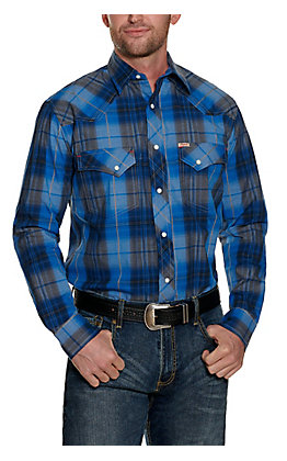 Rafter C ProFlex Stretch Men's Blue Plaid Long Sleeve Western Shirt