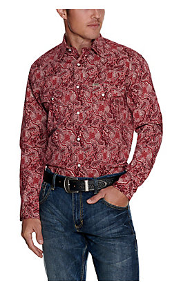 Rafter C ProFlex45 Men's Red with Paisley Print Long Sleeve Stretch Western Shirt