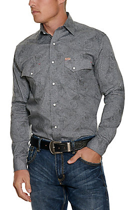 Rafter C ProFlex Men's Grey Paisley Long Sleeve Western Shirt