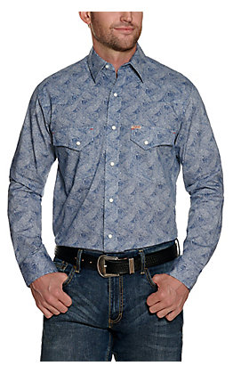 Rafter C ProFlex Stretch Men's Blue Paisley Long Sleeve Western Shirt