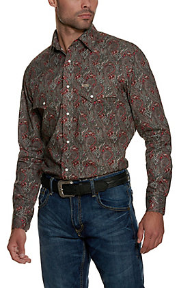 Rafter C ProFlex45 Men's Charcoal Paisley Long Sleeve Western Shirt
