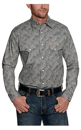 Rafter C ProFlex Stretch Men's Red Geo Print Long Sleeve Western Shirt