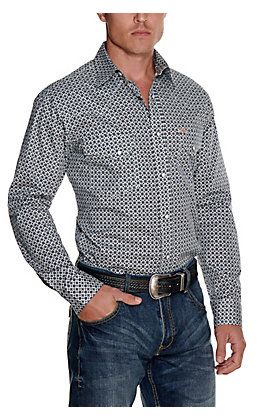 Rafter C ProFlex45 Men's White with a Navy & Grey Geo Print Long Sleeve Western Shirt