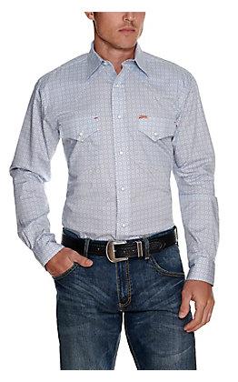 Rafter C ProFlex45 Men's White with Blue Geo Print Long Sleeve Western Shirt