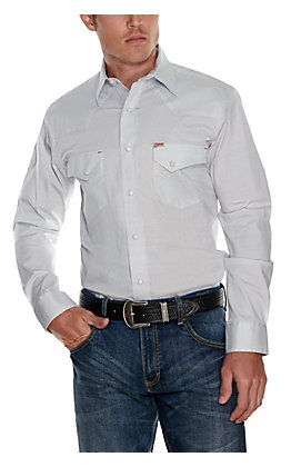 Rafter C ProFlex45 Men's White with Navy Geo Print Long Sleeve Stretch Western Shirt