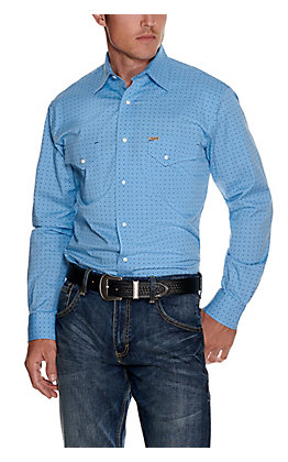 Rafter C ProFlex45 Men's Blue with Black Diamond Print Long Sleeve Stretch Western Shirt