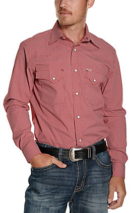 Rafter C ProFlex45 Men's Red with White & Black Geo Print Long Sleeve Western Shirt - Big & Tall