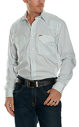 Rafter C ProFlex 45 Men's White with Turquoise Diamond Print Long Sleeve Stretch Western Shirt