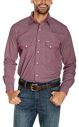 Rafter C ProFlex45 Men's Maroon with Diamond Print Long Sleeve Stretch Western Shirt