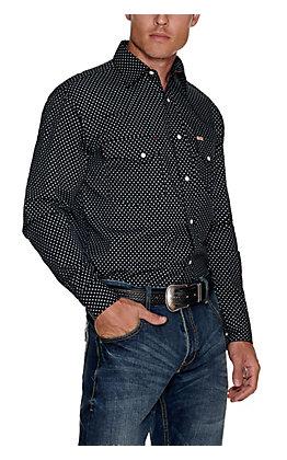 Rafter C ProFlex45 Men's Black with White Diamond Print Long Sleeve Western Shirt - Big & Tall