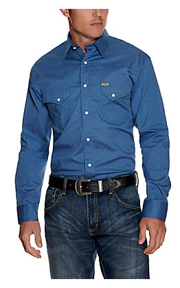 Rafter C ProFlex45 Men's Blue with Black Medallion Print Long Sleeve Western Shirt