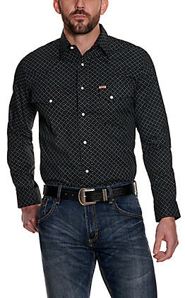 Rafter C ProFlex 45 Men's Black Geo Print Long Sleeve Stretch Western Shirt