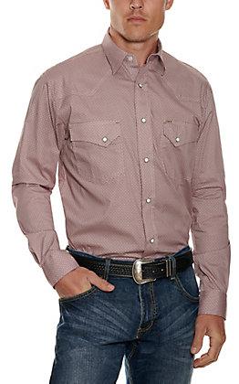 Rafter C ProFlex Stretch Men's Maroon Geo Print Long Sleeve Western Shirt
