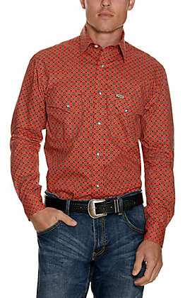 Rafter C ProFlex Stretch Men's Orange Geo Print Long Sleeve Western Shirt