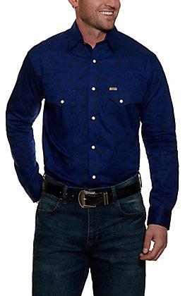 Rafter C Men's ProFlex45 Blue Paisley Long Sleeve Stretch Western Shirt