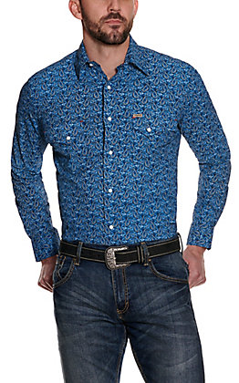 Rafter C ProFlex 45 Men's Blue Paisley Long Sleeve Stretch Western Shirt