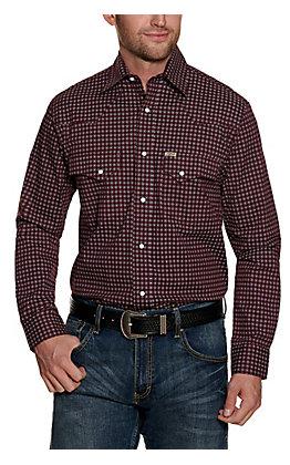 Rafter C ProFlex Stretch Men's Burgundy Geo Long Sleeve Western Shirt