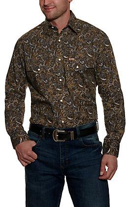 Rafter C Men's ProFlex45 Brown Paisley Long Sleeve Stretch Western Shirt