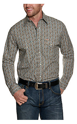 Rafter C ProFlex Stretch Men's Brown and Teal Paisley Long Sleeve Western Shirt