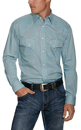 Rafter C Men's ProFlex45 Turquoise Geo Print Long Sleeve Western Shirt