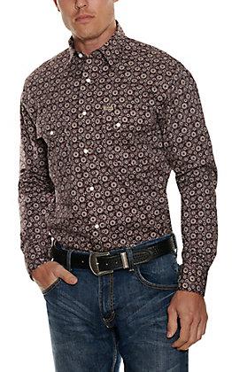 Rafter C Men's ProFlex45 Burgundy Medallion Print Long Sleeve Western Shirt