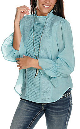 Rockin' C Women's Light Blue with Tucks and Lacing Long Sleeve Fashion Top