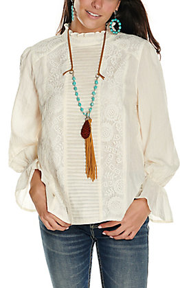 Rockin' C Women's Natural Cream with Tucks and Lacing Long Sleeve Fashion Top