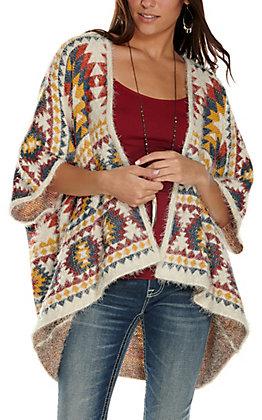 Rockin' C Women's Multi Aztec Print 3/4 Sleeve Eyelash Cardigan