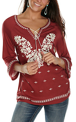 Rockin' C Women's Burgundy with White Embroidery and Tie V-Neck 3/4 Sleeve Casual Knit Top