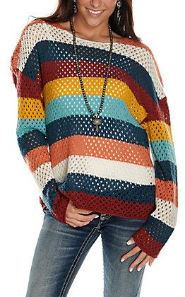Rockin' C Women's Multi Stripes Crochet Long Sleeve Sweater