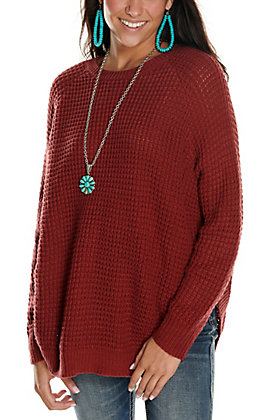 Rockin' C Women's Burgundy with Conchos Waffle Knit Long Sleeve Sweater