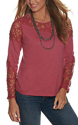 Rockin' C Women's Mauve with Lace Long Sleeve Knit Top
