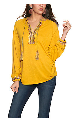 Rockin' C Women's Mustard Embroidered and Beaded Y-Neck Long Sleeve Knit Top
