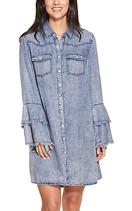 Rockin' C Women's Washed Denim Long Bell Sleeve Shirt Dress
