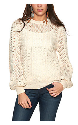 Rockin' C Women's Cream with Multi-Colored Speckles Crochet Knit Long Sleeve Sweater