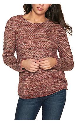 Rockin' C Women's Dusty Mauve Space Dyed Long Sleeve Sweater