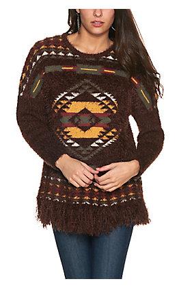 Rockin' C Women's Brown Aztec Print Eyelash Long Sleeve Sweater