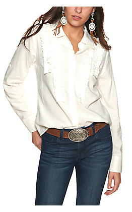 Rockin' C Women's White Ruffle Front Long Sleeve Button Down Top