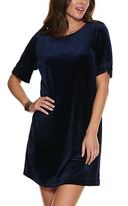 Rockin C Women's Navy Velvet Dress