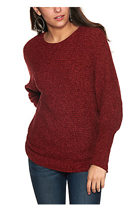 Rockin' C Women's Burgundy Space Dyed Dolman Sleeve Sweater