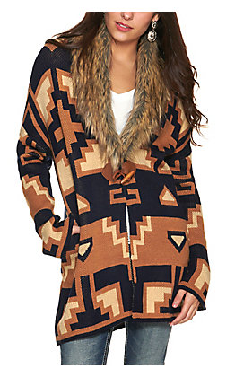 Rockin' C Women's Navy and Gold Aztec Print with Faux Fur Collar Long Sleeve Cardigan