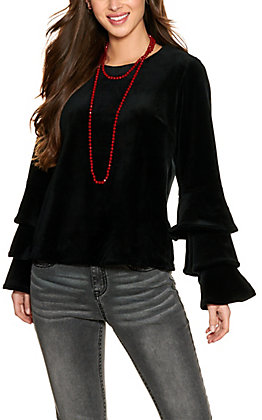 Rockin' C Women's Black Velvet Long Tiered Sleeves Top