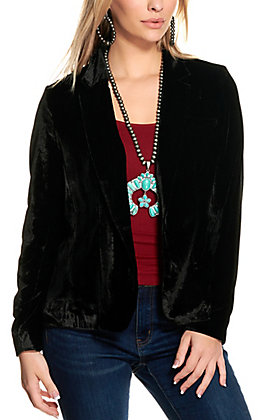 Rockin' C Women's Black Velvet Blazer Jacket