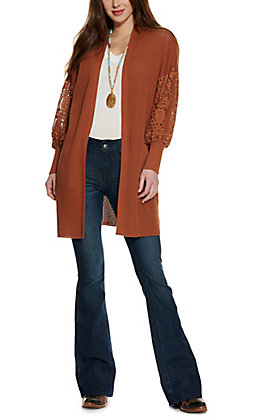 Rockin C Women's Cognac Long Lace Sleeve Cardigan