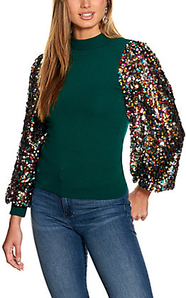 Rockin C Women's Green Sequin Sleeve Sweater