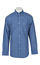 Rafter C Men's Blue Cream Diamond Print L/S Western Shirt