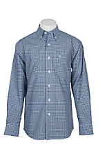 Rafter C Easy Wear 45 Men's Blue and Light Blue Mini Plaid Wrinkle Free L/S Western Shirt
