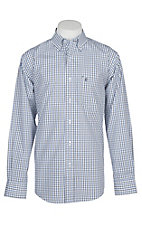 Rafter C Easy Wear 45 Men's White, Blue and Black Windowpane Wrinkle Free L/S Western Shirt