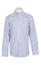 Rafter C Easy Wear 45 Men's White, Blue and Purple Mini Plaid Wrinkle Free L/S Western Shirt