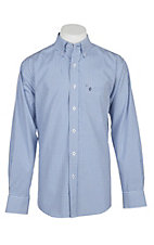 Rafter C Easy Wear 45 Men's White, Blue and Navy Plaid Wrinkle Free L/S Western Shirt